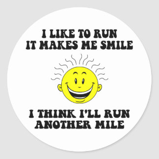 Cute running saying classic round sticker