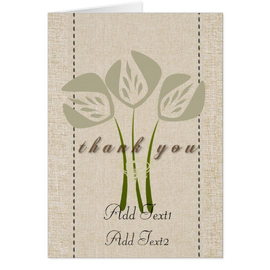 Cute Rustic Abstract Tulips Thank you  Card