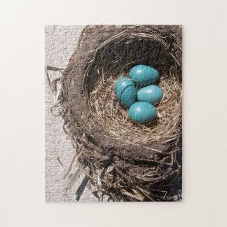 Cute Rustic Bird's Nest Blue Robin Eggs Jigsaw Puzzle