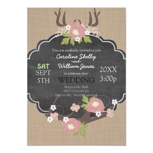 Cute Rustic Country Flower Wedding Invitation
