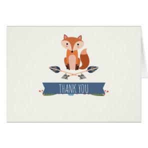 Cute Rustic Fox Arrows Folded Thank You Card