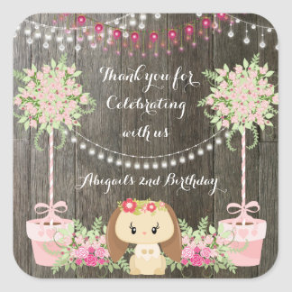Cute Rustic Girl Bunny, Pink Flowers Birthday Square Sticker