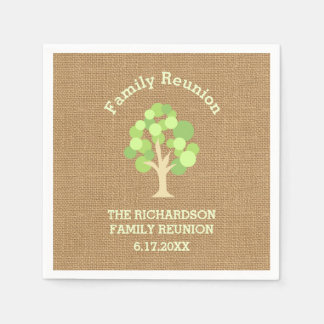 Cute Rustic Green Tree and Burlap Family Reunion Paper Serviettes