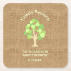 Cute Rustic Green Tree and Burlap Family Reunion Square Paper Coaster