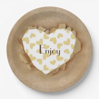 Cute Rustic Paper Bag Heart Paper Plate