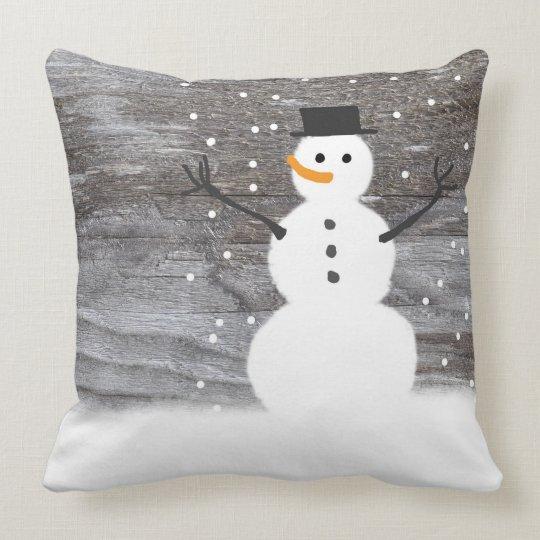 """""""Cute Rustic Snowman Pillow throw pillow"""