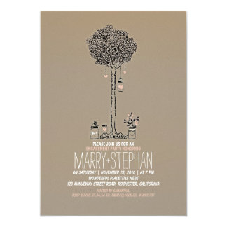 cute rustic tree and mason jars engagement party card