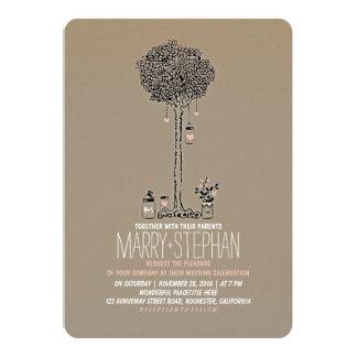 Cute rustic tree and mason jars wedding invitation