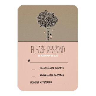 Cute rustic tree and mason jars wedding RSVP card 9 Cm X 13 Cm Invitation Card