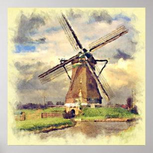 Cute Rustic Vintage Dutch Windmill Watercolor Poster