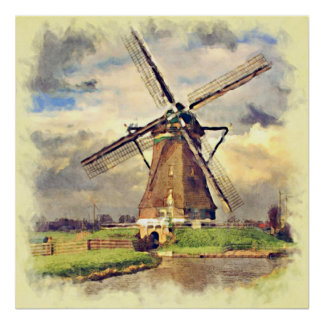Cute Rustic Vintage Dutch Windmill Watercolor Poster