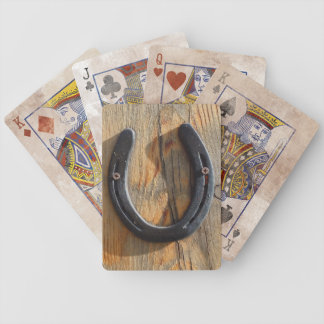 Cute Rustic Western Good Luck Horseshoe Wood Look Bicycle Playing Cards