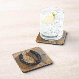 Cute Rustic Western Good Luck Horseshoe Wood Look Beverage Coasters
