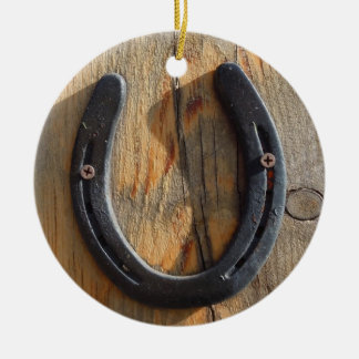 Cute Rustic Western Good Luck Horseshoe Wood Look Round Ceramic Decoration