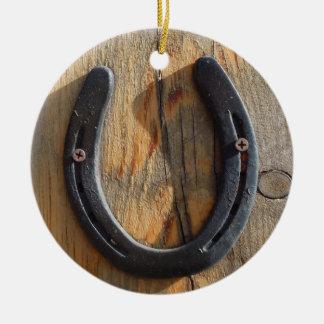 Cute Rustic Western Good Luck Horseshoe Wood Look Round Ceramic Decoration