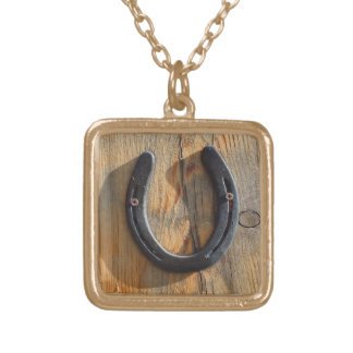 Cute Rustic Western Good Luck Horseshoe Wood Look Square Pendant Necklace
