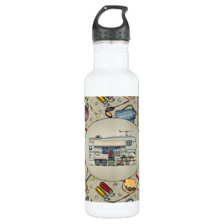 Cute RV Vintage Fifth Wheel Camper Travel Trailer 710 Ml Water Bottle