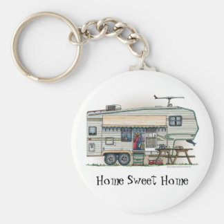 Cute RV Vintage Fifth Wheel Camper Travel Trailer Basic Round Button Key Ring
