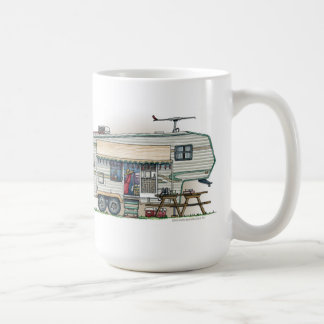 Cute RV Vintage Fifth Wheel Camper Travel Trailer Basic White Mug
