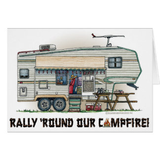 Cute RV Vintage Fifth Wheel Camper Travel Trailer Greeting Card