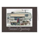Cute RV Vintage Fifth Wheel Camper Travel Trailer Greeting Card