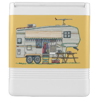 Cute RV Vintage Fifth Wheel Camper Travel Trailer Igloo Cooler