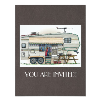 Cute RV Vintage Fifth Wheel Camper Travel Trailer 4.25x5.5 Paper Invitation Card