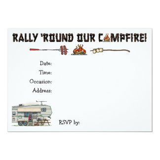 Cute RV Vintage Fifth Wheel Camper Travel Trailer 5x7 Paper Invitation Card