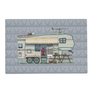Cute RV Vintage Fifth Wheel Camper Travel Trailer Laminated Place Mat