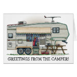 Cute RV Vintage Fifth Wheel Camper Travel Trailer Note Card