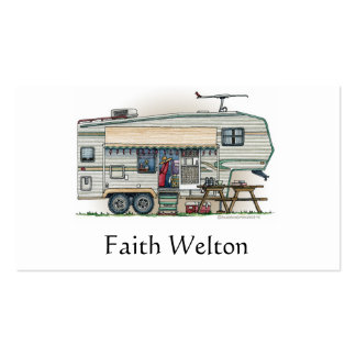 Cute RV Vintage Fifth Wheel Camper Travel Trailer Pack Of Standard Business Cards