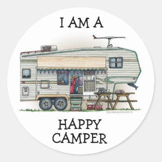Cute RV Vintage Fifth Wheel Camper Travel Trailer Round Sticker