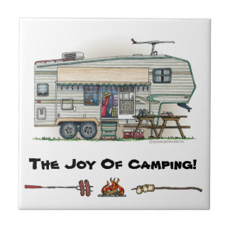 Cute RV Vintage Fifth Wheel Camper Travel Trailer Small Square Tile