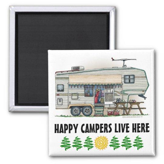 Cute RV Vintage Fifth Wheel Camper Travel Trailer Square Magnet