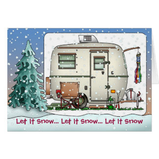 Cute RV Vintage glass egg camper Trailer Holiday Card