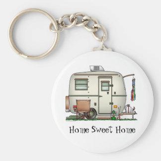 Cute RV Vintage Glass Egg Camper Travel Trailer Basic Round Button Key Ring