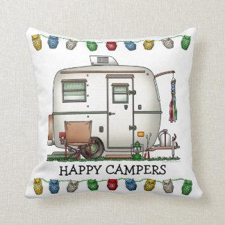 Cute RV Vintage Glass Egg Camper Travel Trailer Cushion