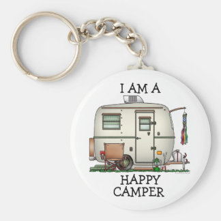 Cute RV Vintage Glass Egg Camper Travel Trailer Key Ring