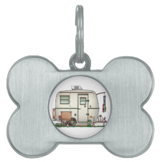 Cute RV Vintage Glass Egg Camper Travel Trailer Pet ID Tag