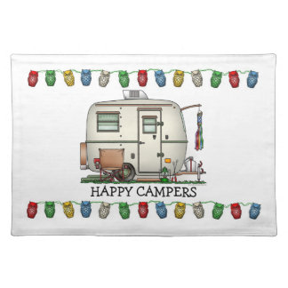 Cute RV Vintage Glass Egg Camper Travel Trailer Placemat