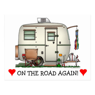 Cute RV Vintage Glass Egg Camper Travel Trailer Postcard
