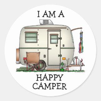 Cute RV Vintage Glass Egg Camper Travel Trailer Round Sticker
