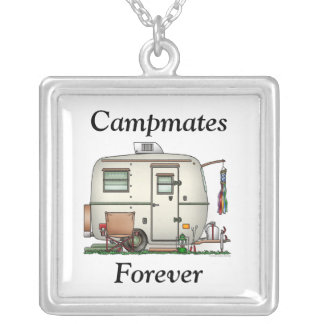 Cute RV Vintage Glass Egg Camper Travel Trailer Silver Plated Necklace