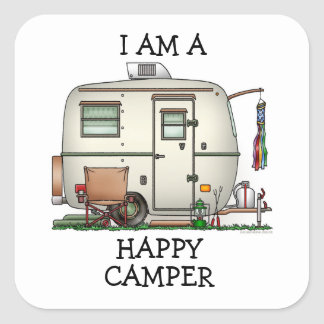 Cute RV Vintage Glass Egg Camper Travel Trailer Square Sticker