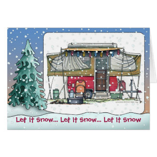 Cute RV Vintage Pop Up Camper Trailer Holiday Card