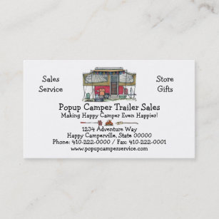 Vintage trailer business cards business card printing zazzle uk cute rv vintage popup camper travel trailer business card reheart Choice Image
