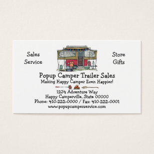 For rv business cards business card printing zazzle uk cute rv vintage popup camper travel trailer business card reheart Gallery