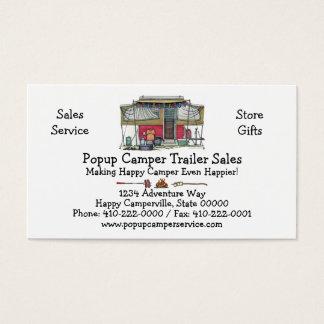 Cute RV Vintage Popup Camper Travel Trailer Business Card