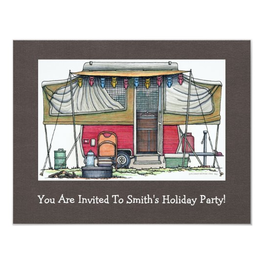 Cute RV Vintage Popup Camper Travel Trailer Card