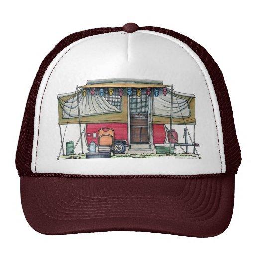 Cute RV Vintage Popup Camper Travel Trailer Hats